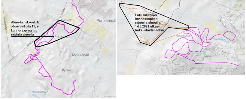 Kirkonkylän ja Kontiomäen latujen kunnossapidossa muutoksia alueella tehtävien hakkuutöiden takia