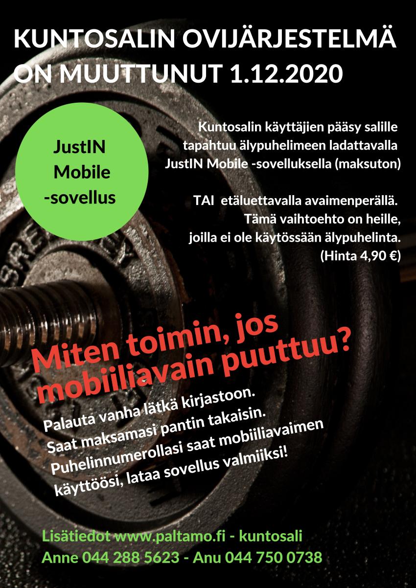Tauko kuntosalin mobiiliavainten aktivoinnissa 23.12.2020-4.1.2021