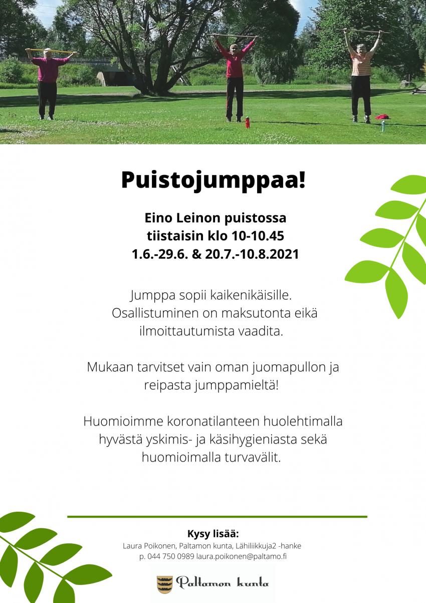 Puistojumppaa Eino Leinon puistossa